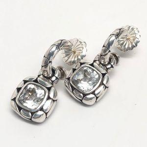 John Hardy White Topaz Kali Dangle Drop Earrings